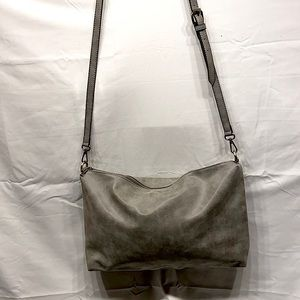 Large Fully lined Grey suede crossbody bag from JOY Susan with adjustable strap